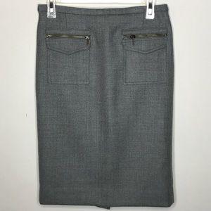 J CREW Wool patch - Pocket Pencil skirt Gray Sz 4